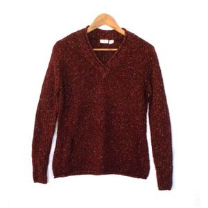 Cato Brown V-Neck Long Sleeve Cozy Knit Sweater